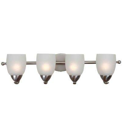 Mirror Lake 4-Light Brushed Nickel Bathroom Vanity Light with White Etched Glass Shade