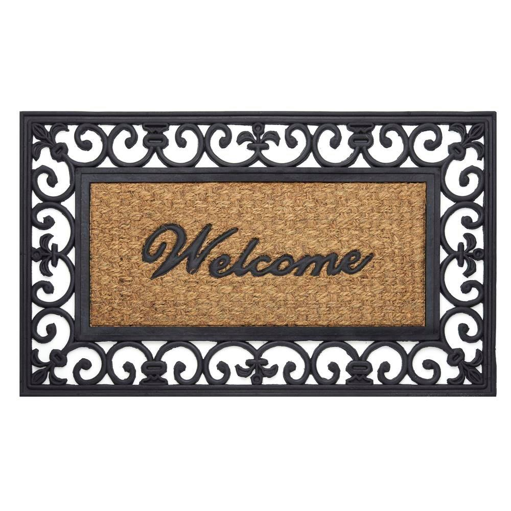 Achim Fleur De Lis 18 in. x 30 in. Wrought Iron Rubber Floor Mat Bring the style and beauty of your home to your door. Help your guests feel welcome before they step inside. Our deep molded wrought iron rubber door mats are built to withstand all seasons and weather conditions. The luxurious, deep raised grooves can be used to remove debris and dirt from your shoes. Color: Fleur de Lis.