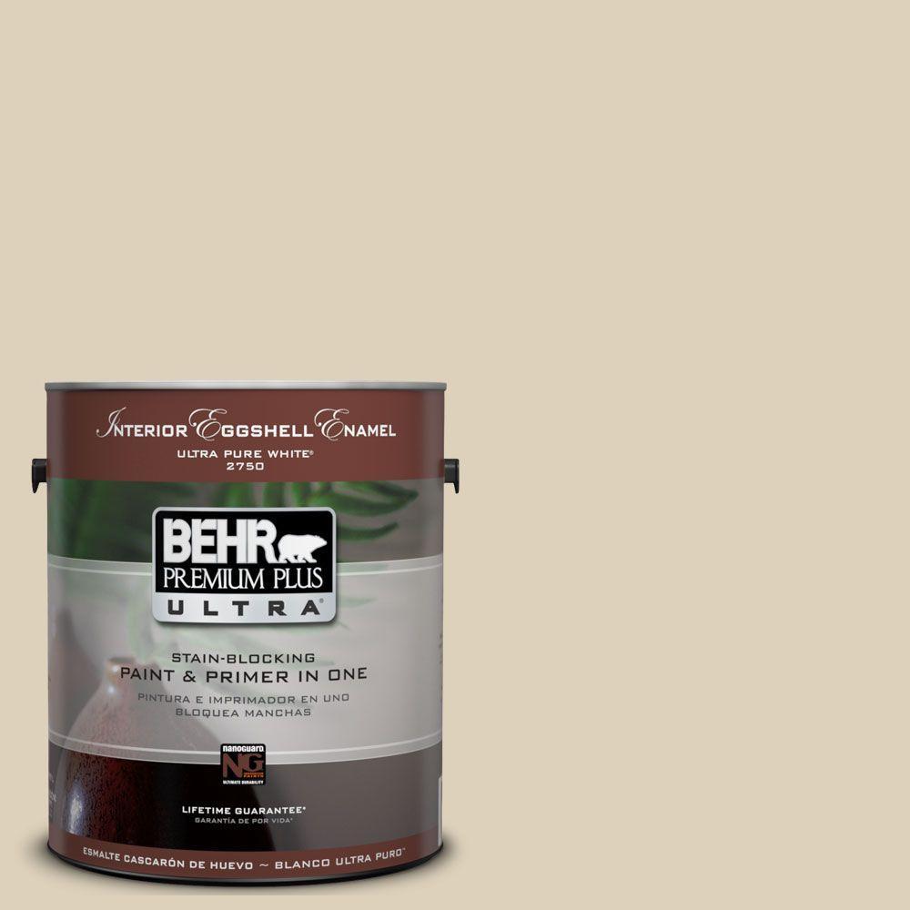 BEHR Premium Plus Ultra 1-Gal. #UL160-14 Natural Almond Interior Eggshell Enamel Paint