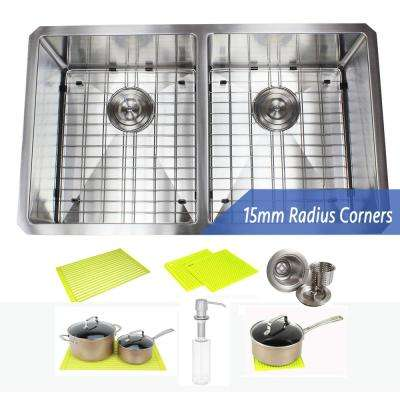 Undermount Stainless Steel 32 in. 50/50 Double Bowl Kitchen Sink Combo with Accessories
