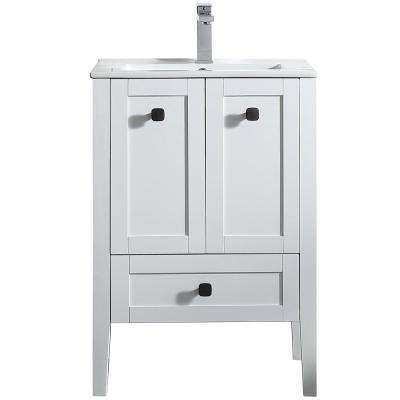 Andora 24 in. W x 18.1 in. D Vanity in Matte White with Ceramic Vanity Top in White with White Basin