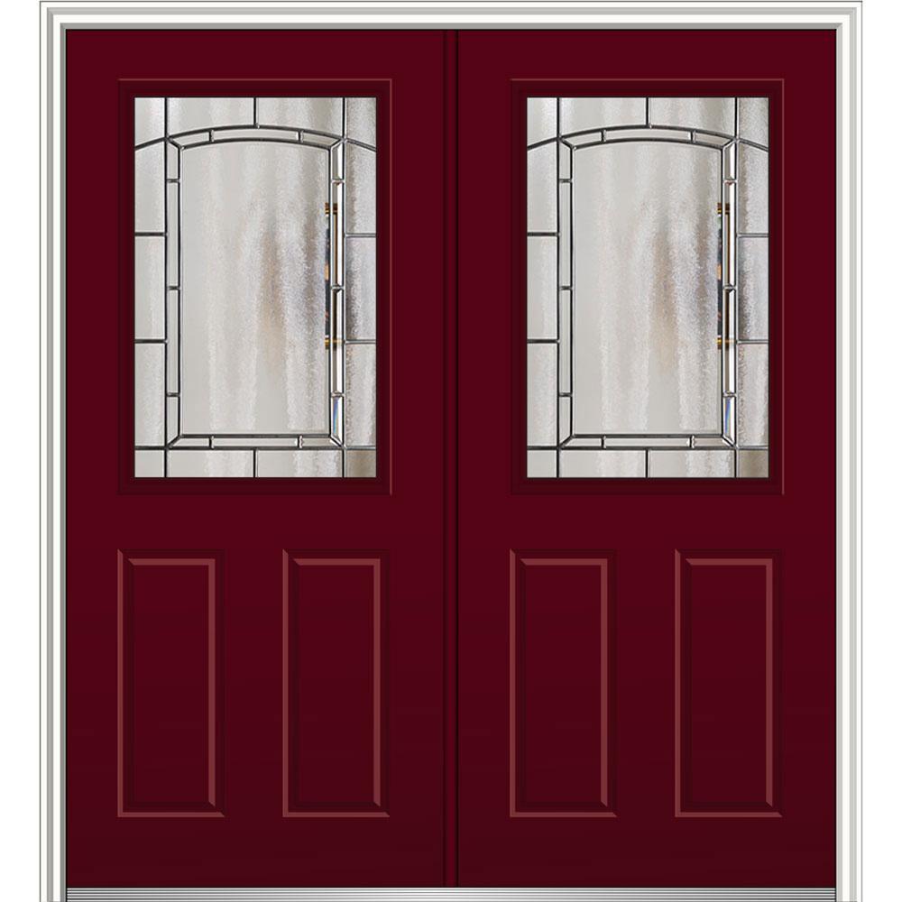 64 in. x 80 in. Solstice Glass Burgundy Right-Hand 1/2-Lite 2-Panel Painted Steel Prehung Front Door