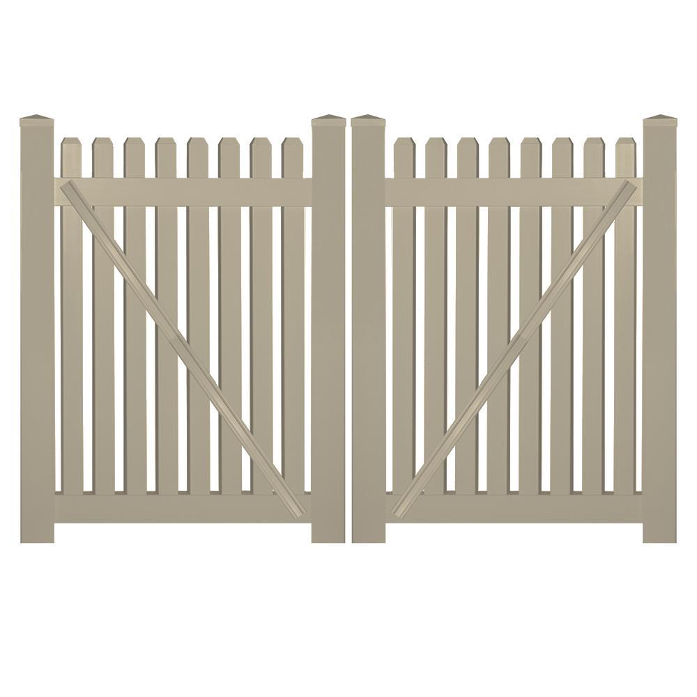 Provincetown 8 ft. W x 3 ft. H Khaki Vinyl Picket Fence Double Gate