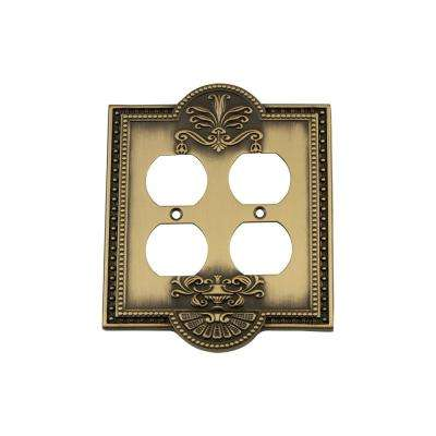 Meadows Switch Plate with Double Outlet in Antique Brass