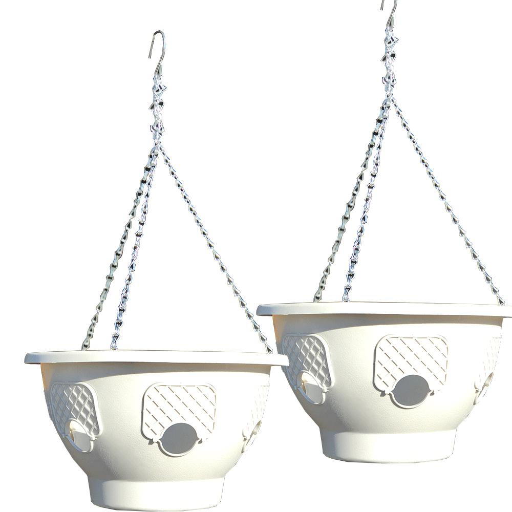 12 in. Dia Stone Plastic Hanging Garden (2-Pack)