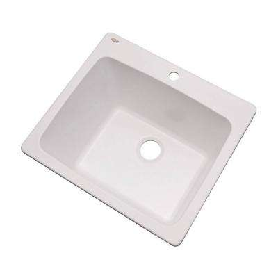Wakefield Drop-in Natural Stone Composite 25 1-Hole Utility Single Bowl Kitchen Sink in White