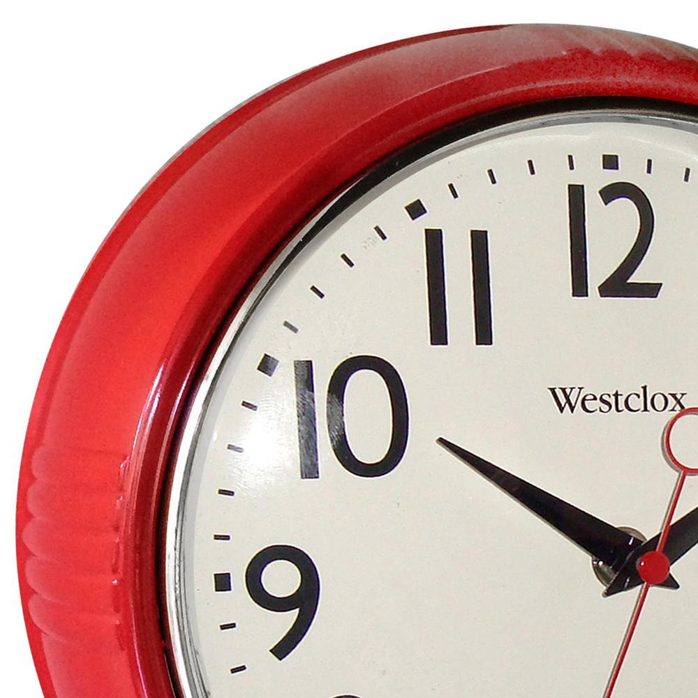 Westclox Round Retro Wall Clock 9 5 Inch Red Kitchen 1950s