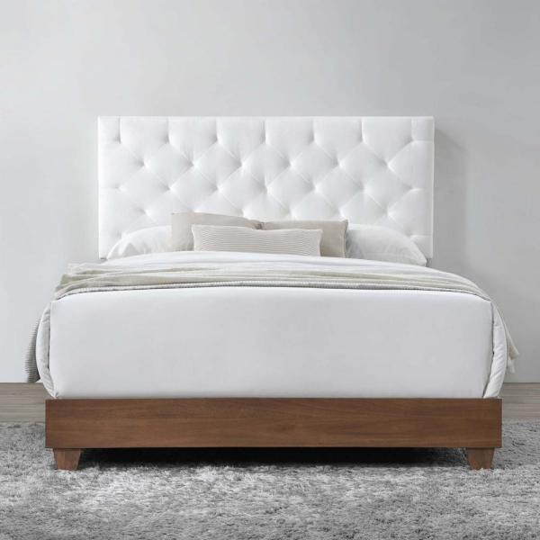 Modway Rhiannon Walnut White Diamond, Upholstered Queen Bed White