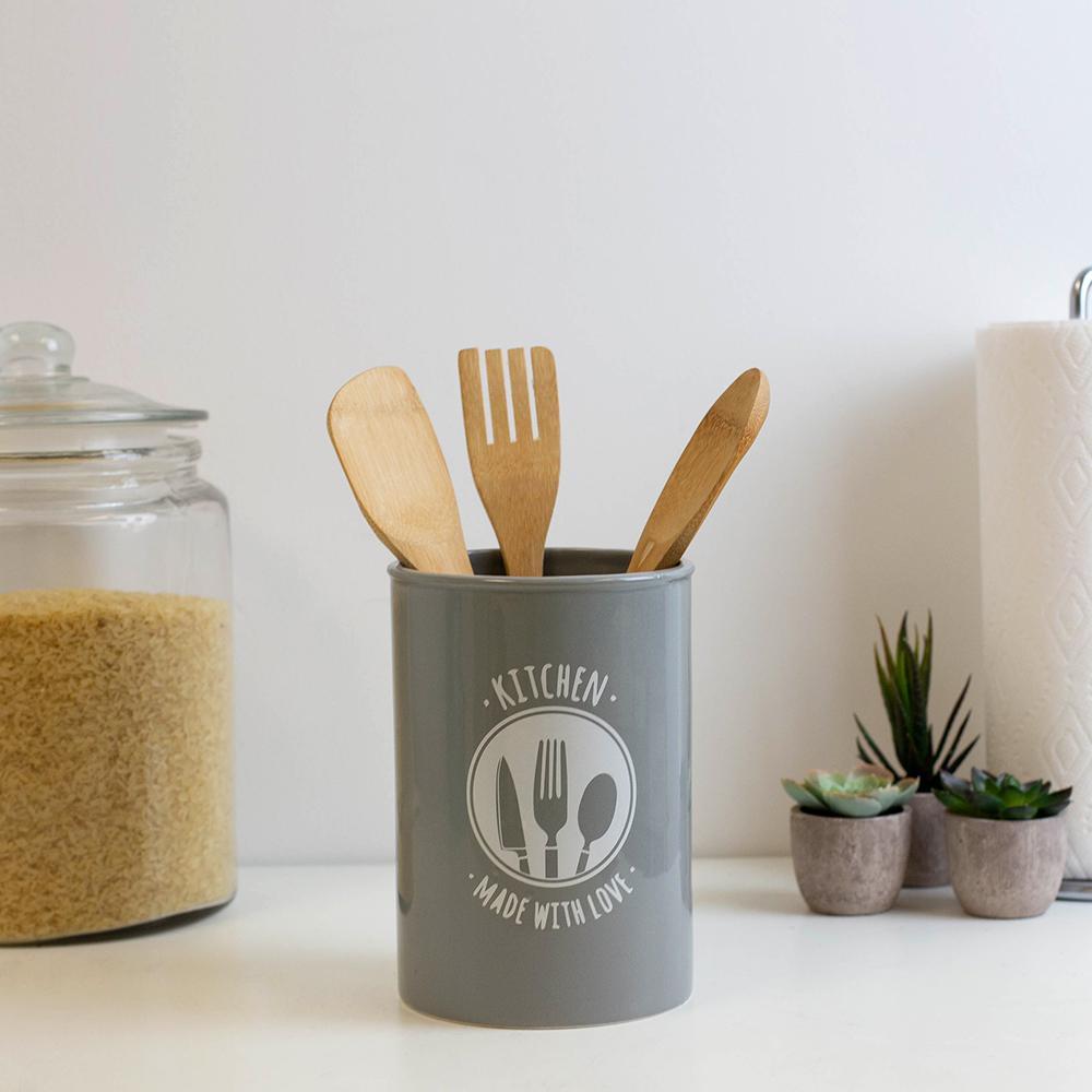 Made with Love Grey Ceramic Utensil Crock