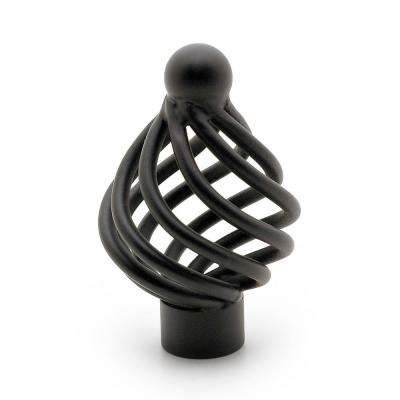 1-5/16 in. (33 mm) Traditional Matte Black Birdcage Cabinet Knob