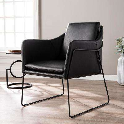 Myrie Black Faux Leather Accent Chair