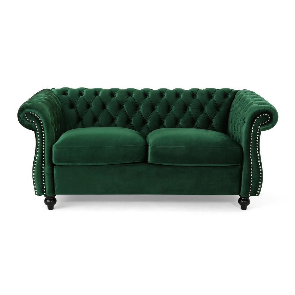 NobleHouse Noble House Somerville Traditional Tufted Emerald Velvet Chesterfield Loveseat Sofa with Studded Accents, Green