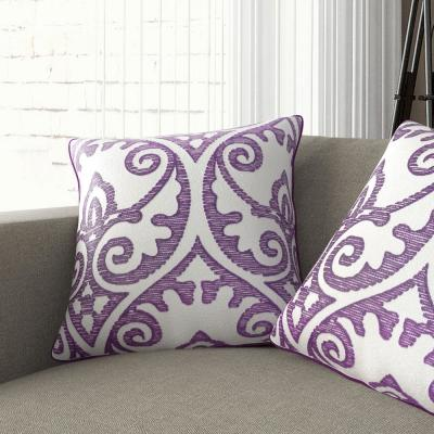 Faded Damask Purple Decorative Pillow (Set of 2)