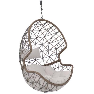 Danielle Resin Wicker Outdoor Hanging Egg Patio Lounge Chair with Gray Cushions
