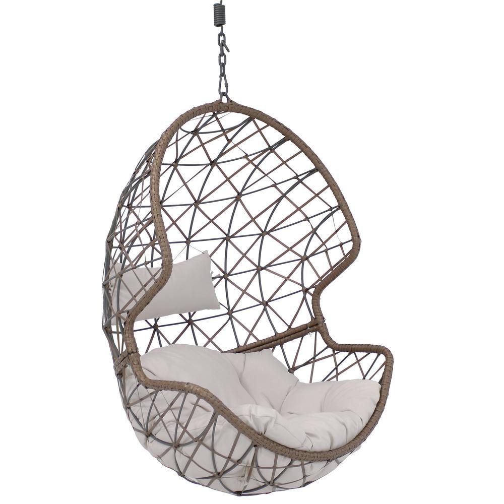Sunnydaze Decor Danielle Resin Wicker Indoor Outdoor Hanging Egg