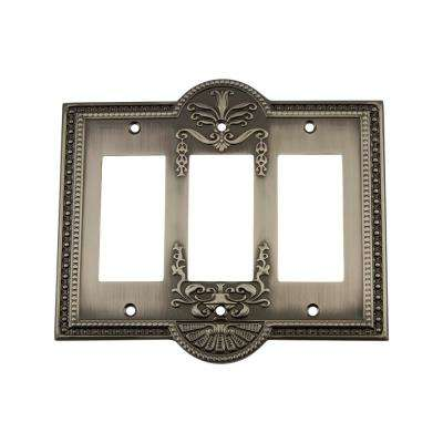 Meadows Switch Plate with Triple Rocker in Antique Pewter