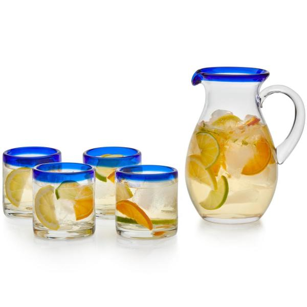 Libbey Sangria 4-Piece Rocks Glass Entertaining Set with Glass Pitcher