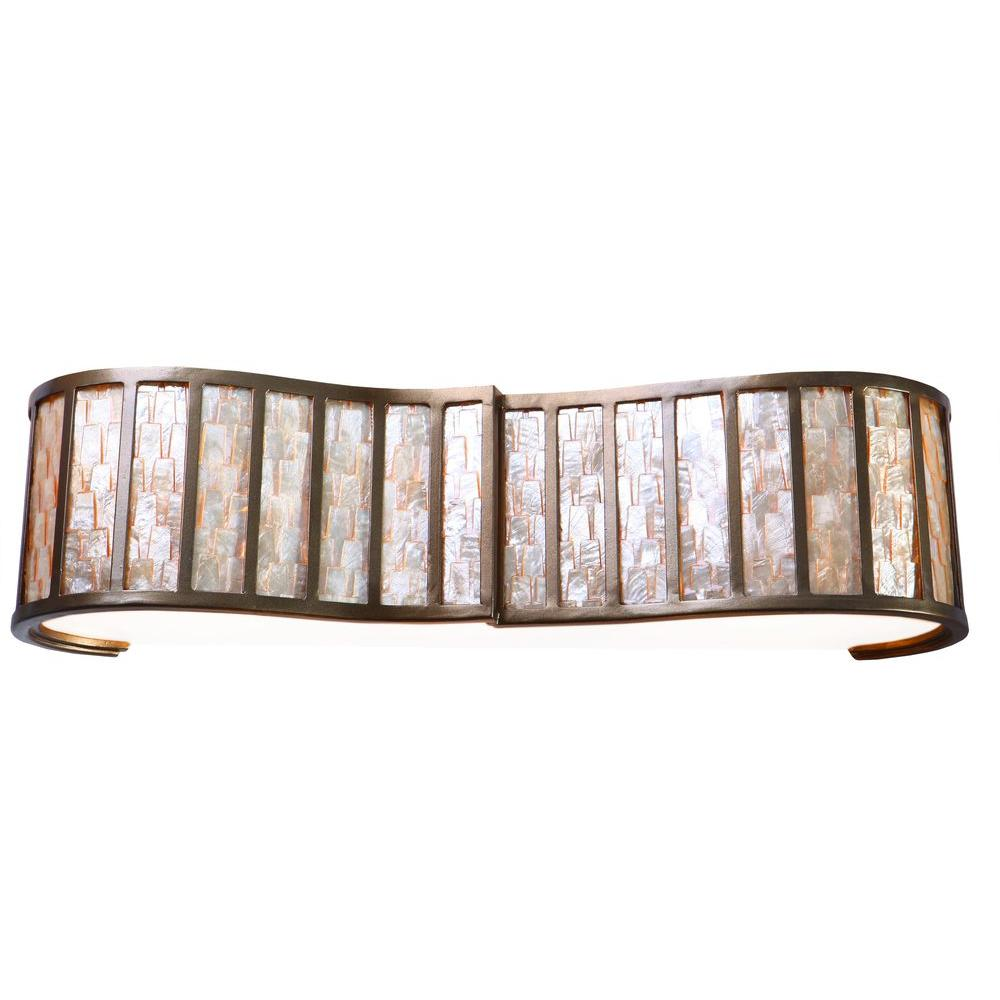 Affinity 3-Light New Bronze Bath Vanity Light with Towers of Natural