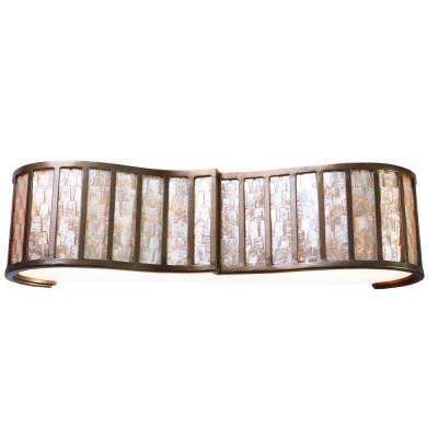 Affinity 3-Light New Bronze Bath Vanity Light with Towers of Natural Capiz