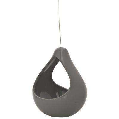 Live Green Nidos 4.25 in. Gray Ceramic Hanging Short Pear Planter