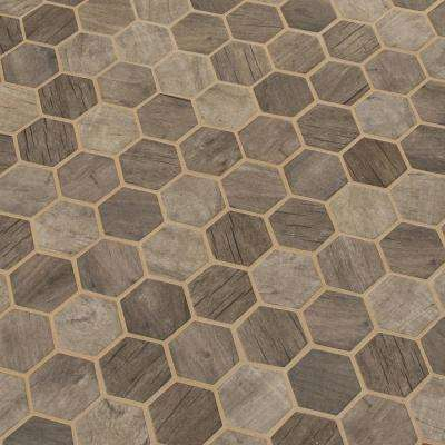 12 in. x 12 in. x 6 mm Driftwood Hexagon Glossy Glass Mesh-Mounted Mosaic Tile (0.98 sq. ft.)