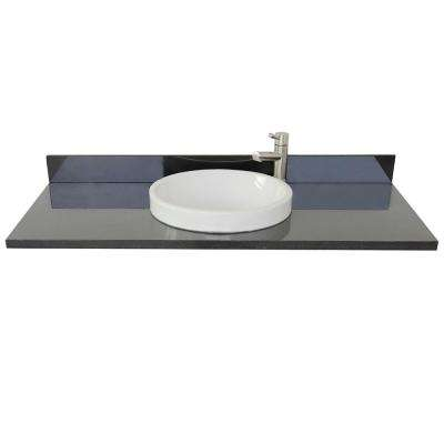 Ragusa III 49 in. W x 22 in. D Granite Single Basin Vanity Top in Black with White Round Basin