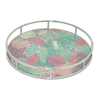 2 in. Metal Tray with Design in Silver