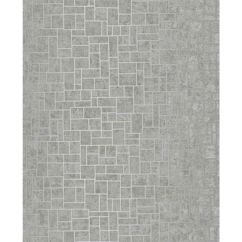 Brewster Etude Silver Geometric Wallpaper Sample 2683-23021SAM