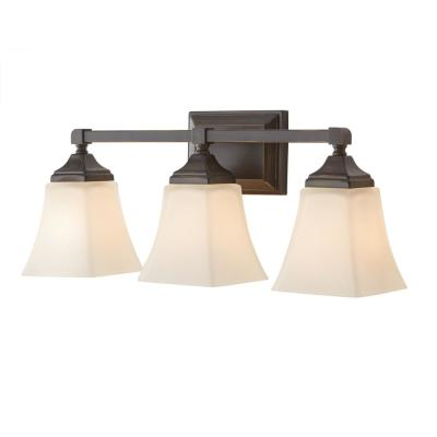 Delancy 3-Light Distressed Bronze Sconce with White Frosted Glass Shades