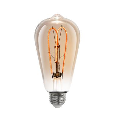 40-Watt Equivalent ST19 Dimmable Amber Glass Vintage Edison LED Light Bulb with M-Type Filament Soft White (1-Bulb)