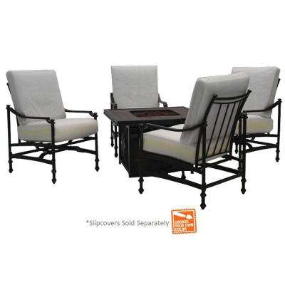 Niles Park 5-Piece Gas Patio Fire Pit Seating Set with Cushion Insert (Slipcovers Sold Separately)