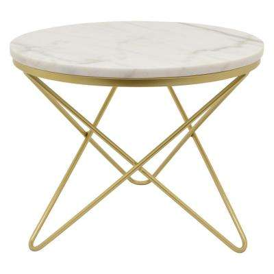 15.75 in. Gold Metal Marble Top Table