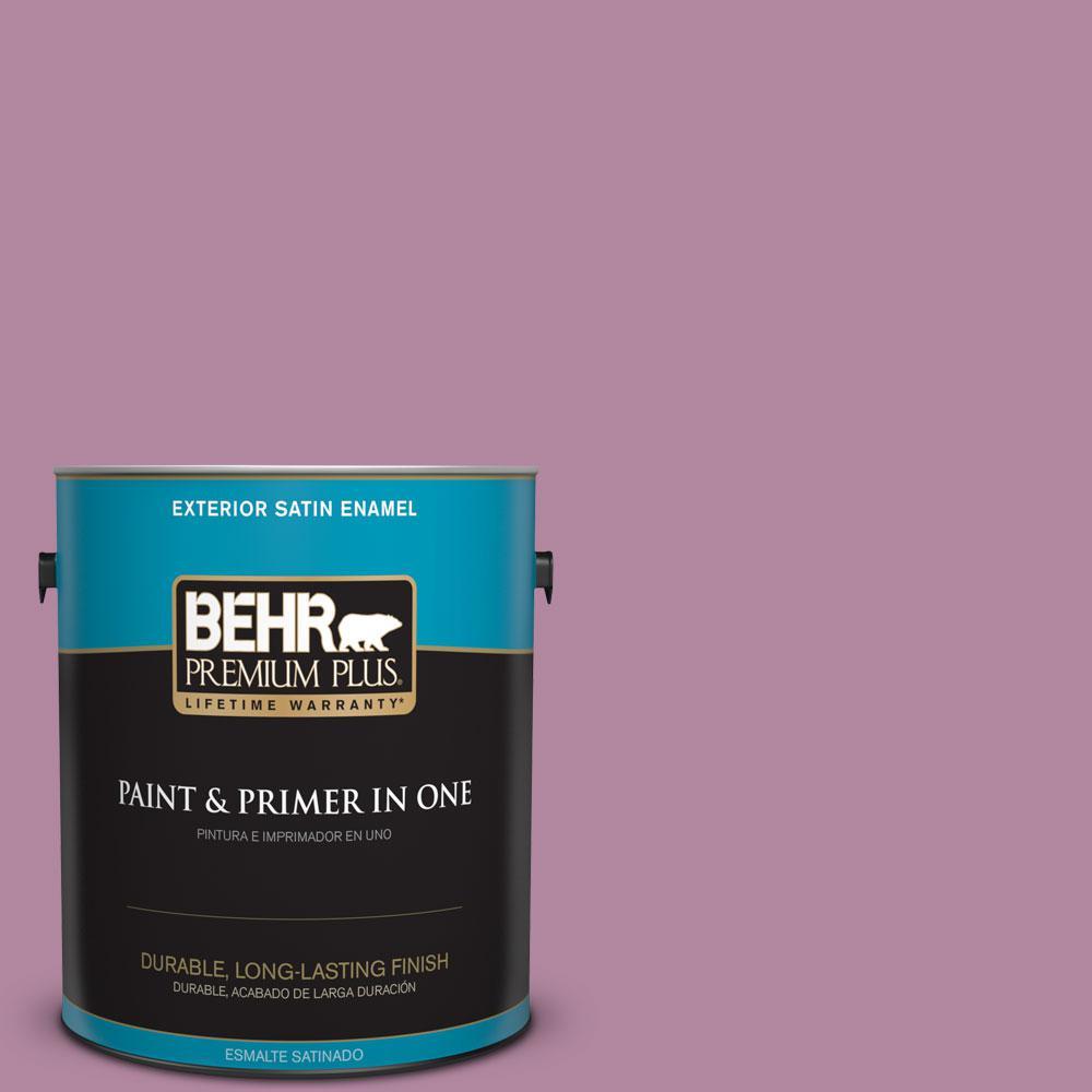 BEHR Premium Plus 1-gal. #690D-5 Winsome Rose Satin Enamel Exterior Paint
