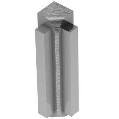 Rondec-Step Brushed Chrome Anodized Aluminum 3/8 in. x 1-7/8 in. Metal 90° Inside Corner