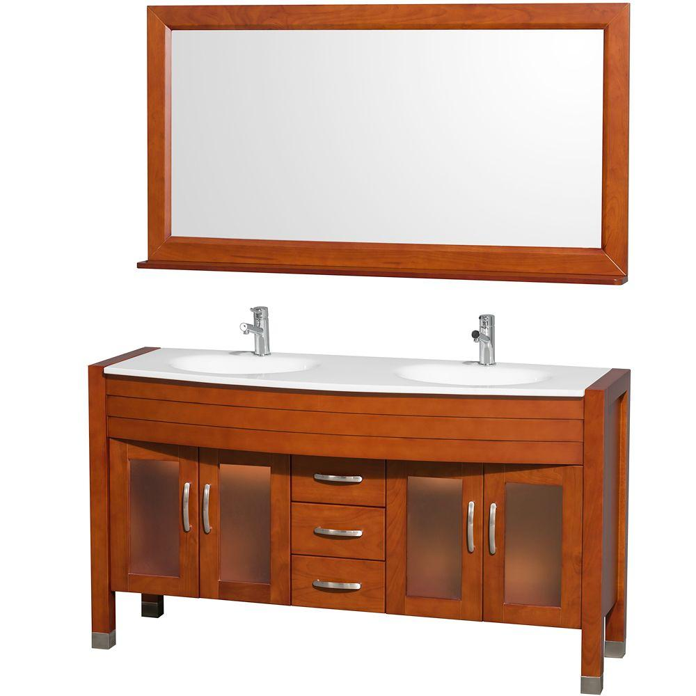 Daytona 60 in. Double Vanity in Cherry with Man-Made Stone Vanity