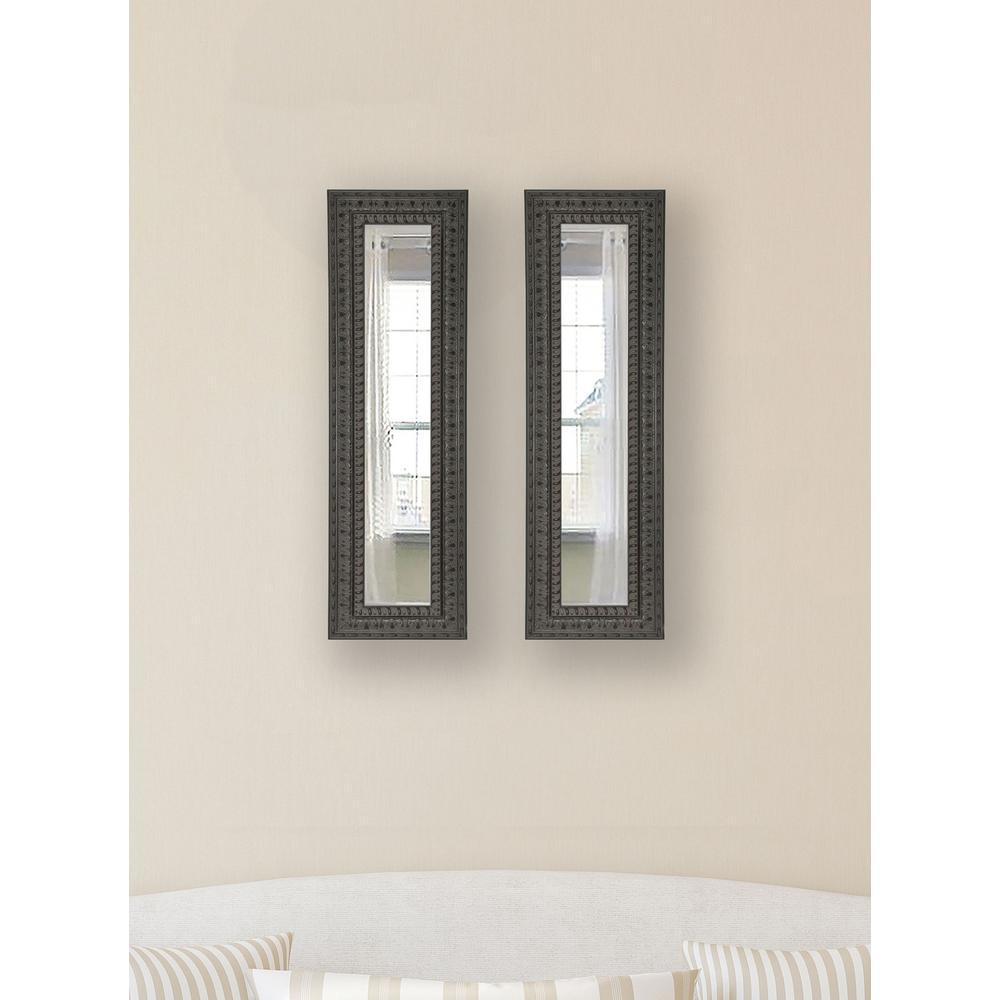 9.5 in. x 21.5 in. Dark Embellished Vanity Mirror (Set of 2-Panels)