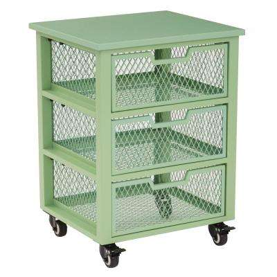Clayton Green Metal Frame 3-Drawer Rolling Cart
