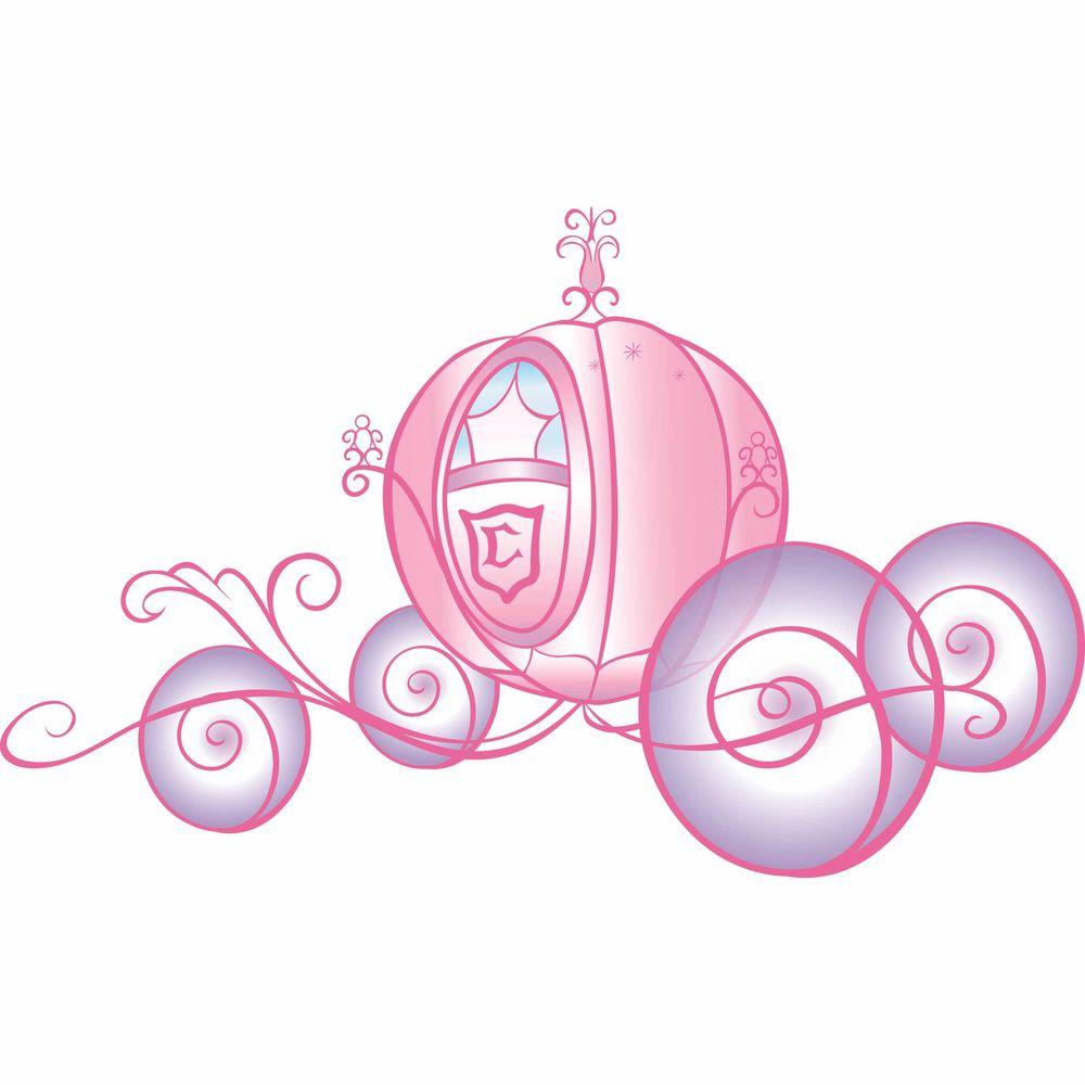 RoomMates 3.5 in. x 27 in. Disney Princess Carriage 7-Piece Peel and Stick Giant Wall Decals