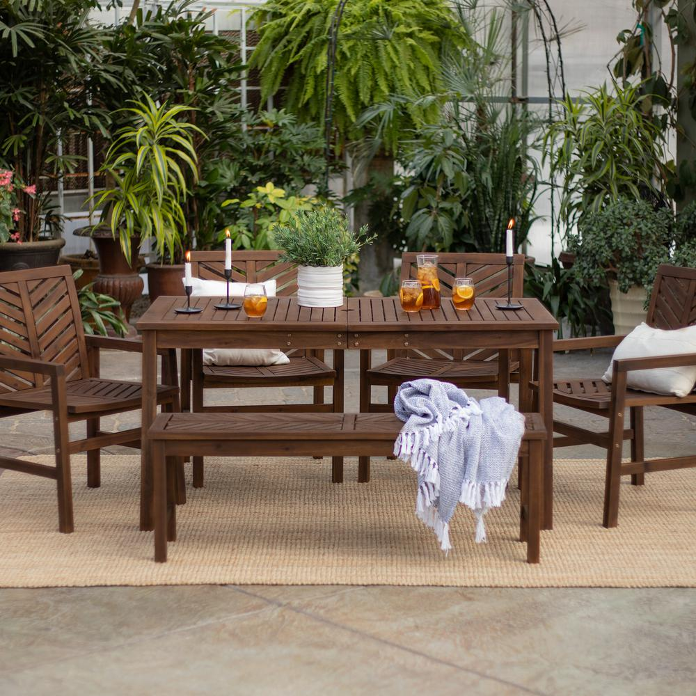 Walker Edison Furniture Company Chevron Dark Brown 6 Piece Wood Outdoor Patio Dining Set