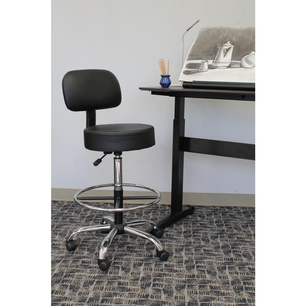 boss beige caressoft beige medical and drafting stool with back
