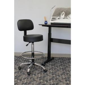 Excellent Boss Black Caressoft Medical Drafting Stool With Back Dailytribune Chair Design For Home Dailytribuneorg