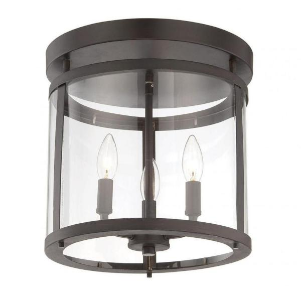 Kulfi 12.5 in. 3-Light English Bronze Semi-Flush Mount