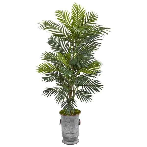56 in. Areca Palm Artificial Plant in Metal Urn