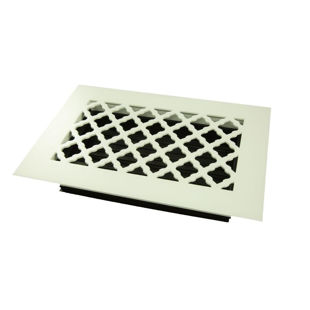 Tuscan 10 in. x 6 in. Steel Floor Register, White/Powder Coat with Opposed Blade Damper