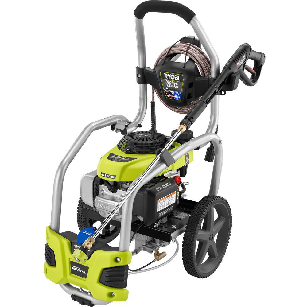 RYOBI 3,100 PSI 2 5 GPM Honda Gas Pressure Washer with Idle Down