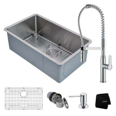 Handmade All-in-One Undermount Stainless Steel 30 in. Single Bowl Kitchen Sink with Faucet in Chrome
