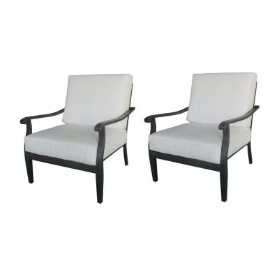 Riley Black Stationary Outdoor Lounge Chair With Cushions Included (2-Pack), Choose Your Own Color