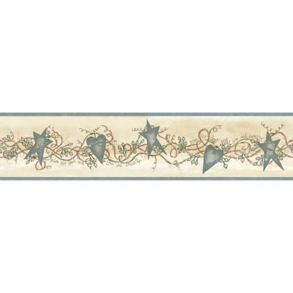 Paxton Blue Tin Hearts & Stars Blue Wallpaper Border