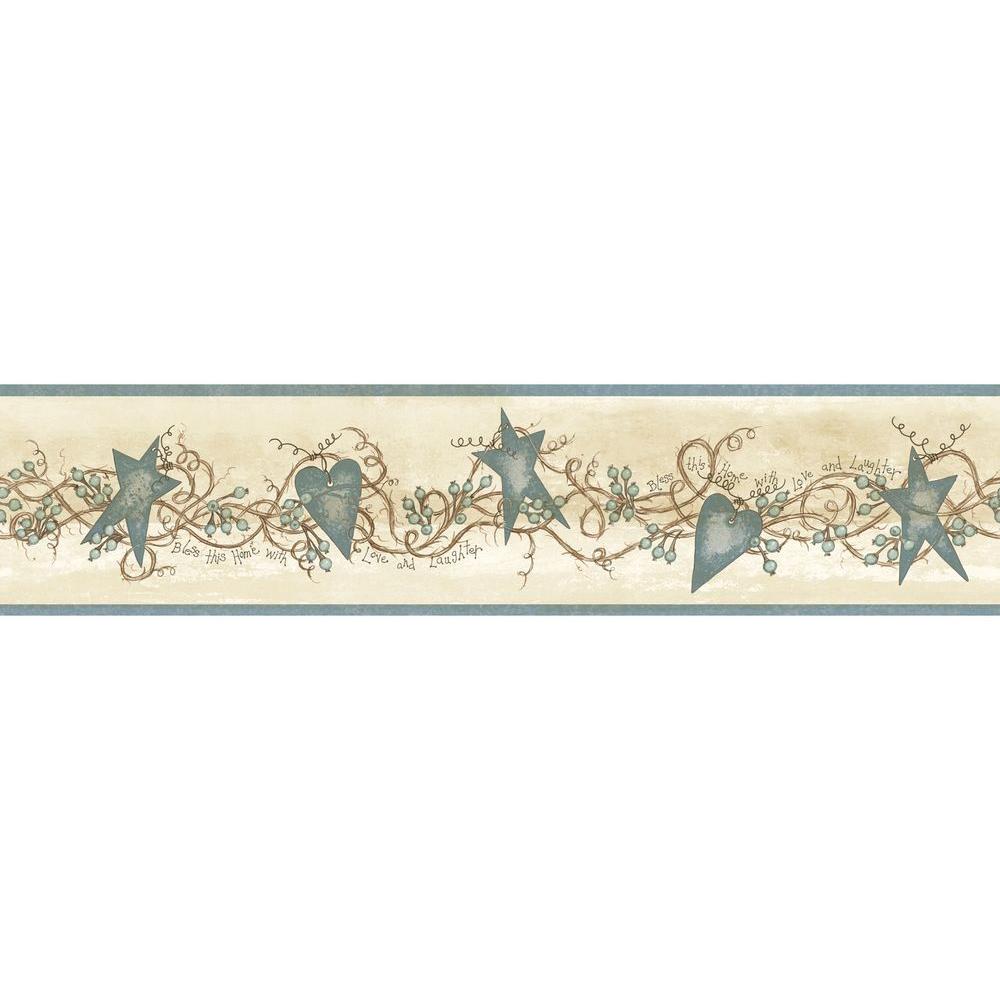 Paxton Blue Tin Hearts and Stars Wallpaper Border Sample