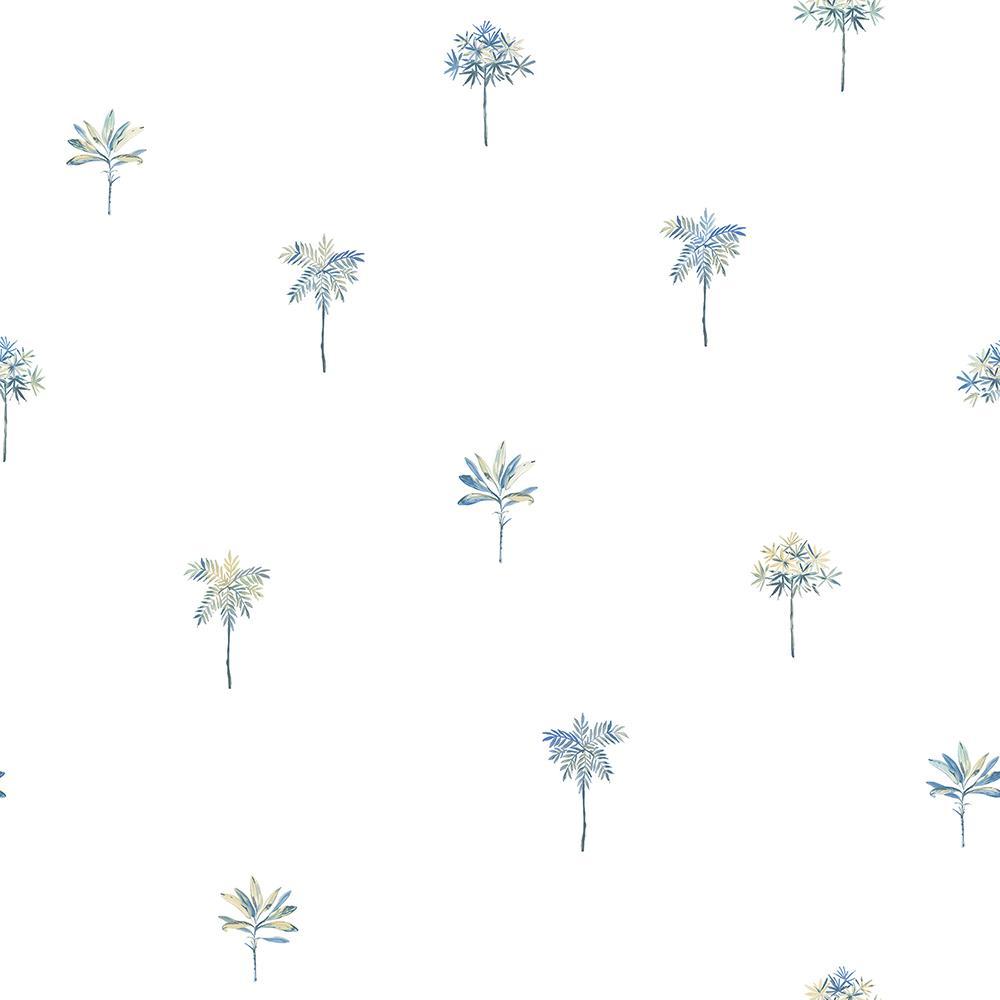 Palmetto Blue Leaves Wallpaper